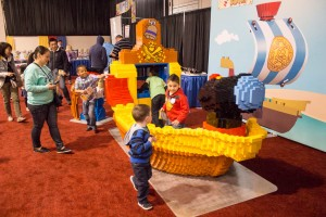 "Kids play on a block modeled version of Bucky the sailboat from ""Jake and the Neverland Pirates"" at LEGO KidsFest in Novi, Mich. on April, 27 2014.  (credit: George Fox/CW50)"