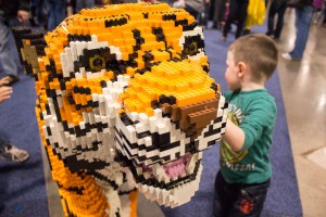 A life-size tiger modeled out of blocks at LEGO KidsFest in Novi, Mich. on April, 27 2014.  (credit: George Fox/CW50)