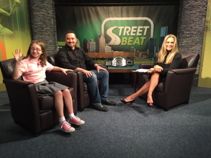 """Roger McPheeters and his daughter Hailey from """"Walk Now For Autism Speaks"""" and Street Beat host Lisa Germani. (credit: Ken Bryant/CW50)"""