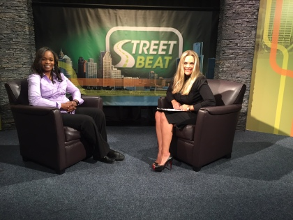 Shell Jones, the CEO and Founder of the Play-Play for Autistic Children, and Street Beat host Lisa Germani. (credit: Ken Bryant/CW50)