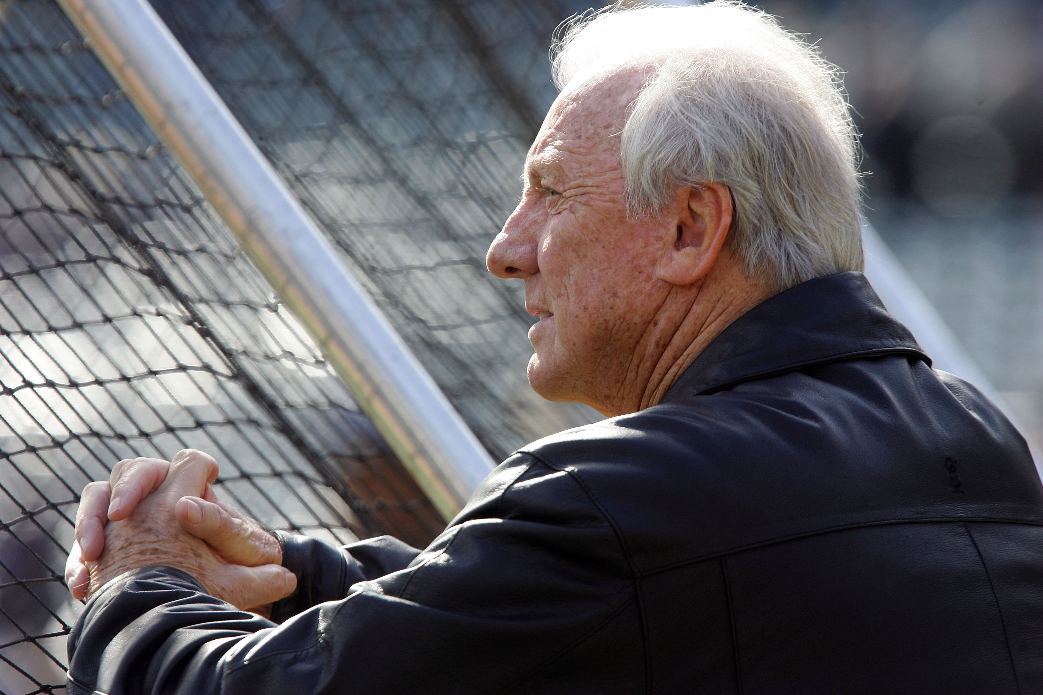 DETROIT - OCTOBER 14: Hall of Famer and former Detroit Tiger great Al Kaline watchess batting practice prior to the start of Game Four of the American League Championship Series between the Detroit Tigers and the Oakland Athletics October 14, 2006 at Comerica Park in Detroit, Michigan. (Photo by Jim McIsaac/Getty Images)