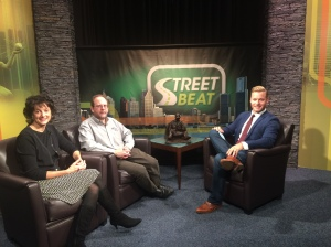 Debi Hollis and Russell Levine from the World War II Legacy Memorial with Street Beat host Rob Stone (credit: JuWan Graham, CW50)